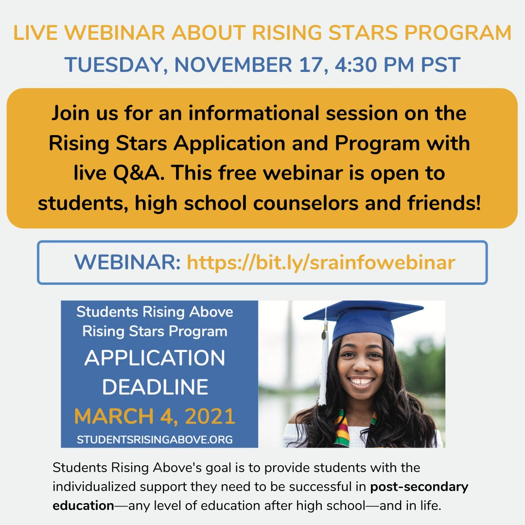 Join @SRAprogram tomorrow, Tuesday, November 17th at 4:30 PM PST for a free informational session on the Rising Stars Program with live Q&A. This webinar is open to students, high school counselors and friends! Register here now: https://t.co/3QmhvRcVH4  Spread the word! https://t.co/Kx0pDGC47r
