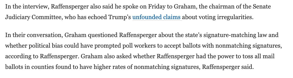 Georgia SoS Brad Raffensperger says Sen. Lindsey Graham asked him if it would be possible to toss all mail ballots in places where there were higher rates of signature mismatch. Raffensperger said he was stunned. https://t.co/Benk91yziz via @AmyEGardner https://t.co/0qJb6vAJyO