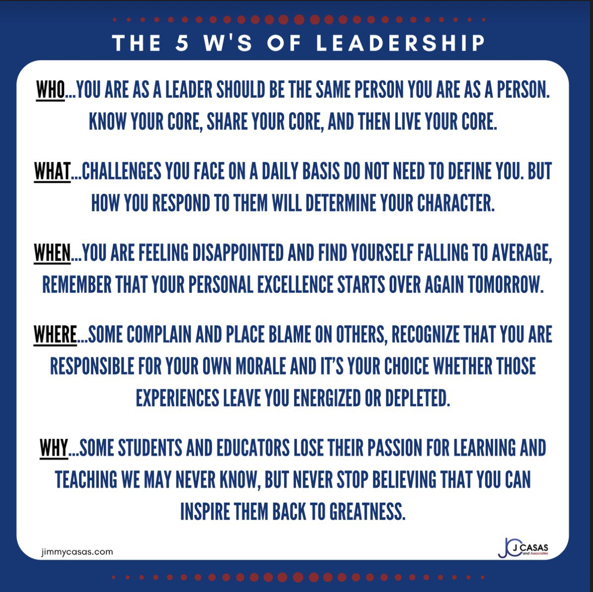 The 5 We's of Leadership by @casas_jimmy #LiveYourExcellence #Culturize #Leaders