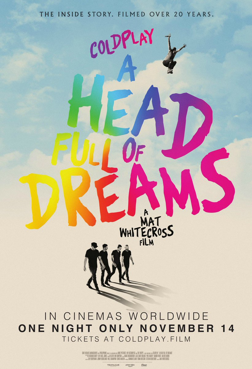 On This Day 2 years ago 300,000 Coldplay fans entered cinemas around the world to watch the premier of Coldplay's #AHFODfilm 🎬 directed by @MatWhitecross.   ❤️💛💚💙💜