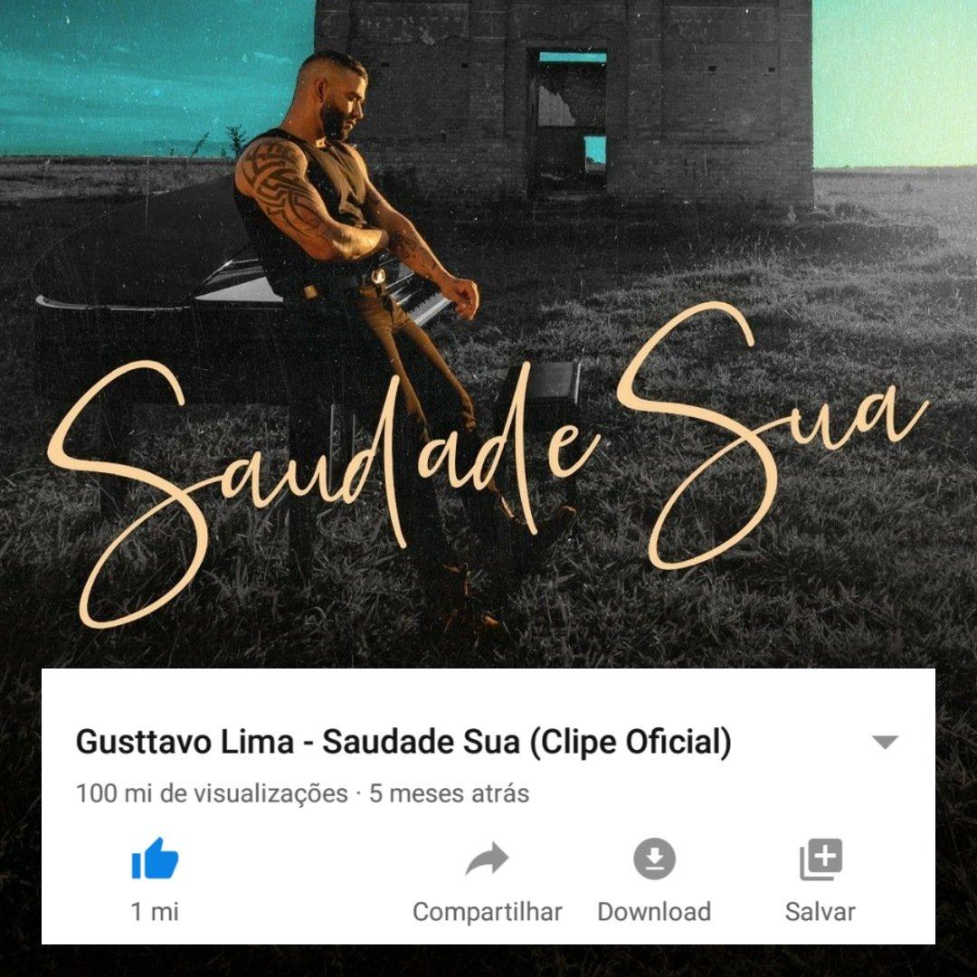 """O clipe oficial de """"Saudade Sua"""" atingiu a marca de 100 milhões de visualizações no YouTube, e soma 1 milhão de likes. 💥"""