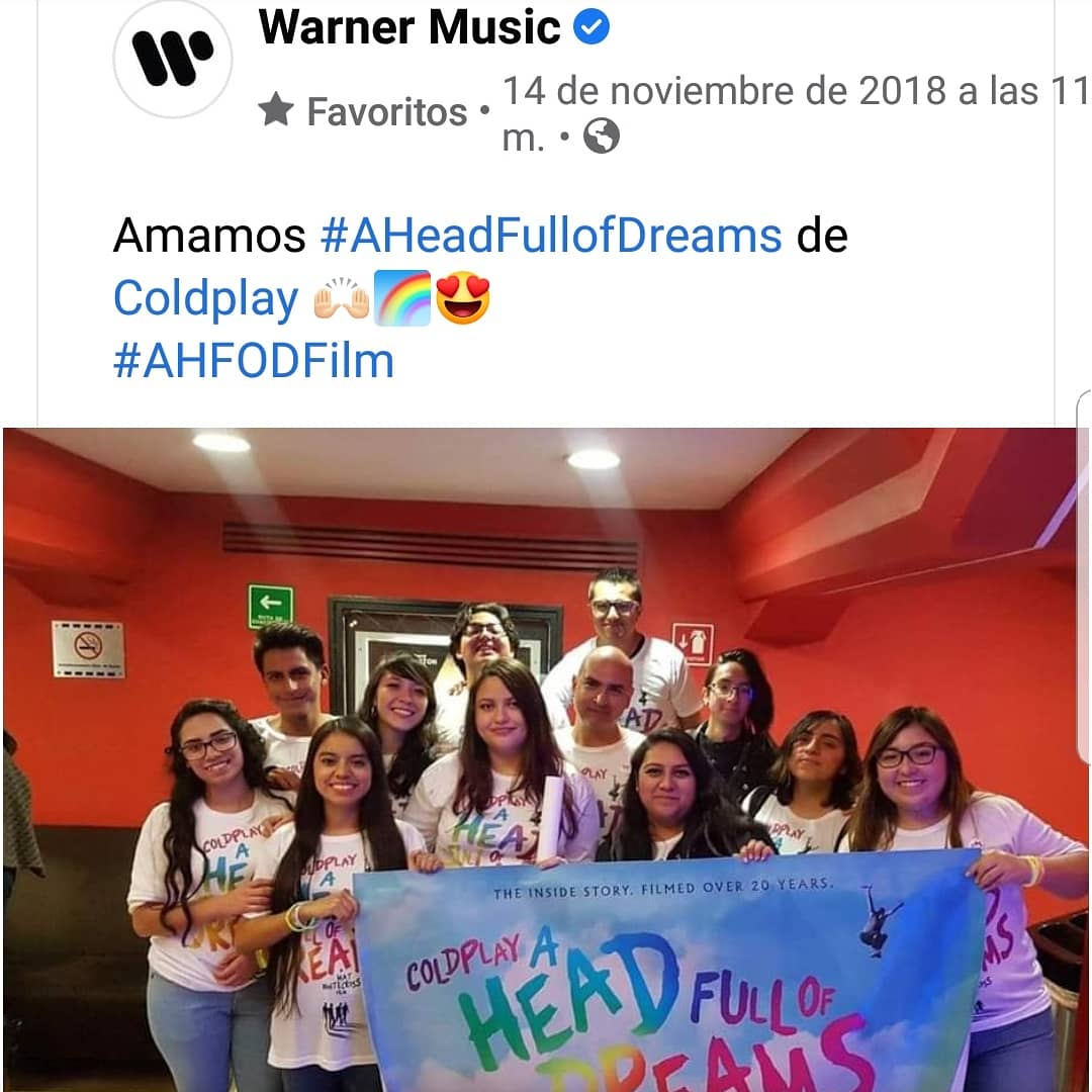 📆#undiacomohoy  🎥Función especial para Fans cortesía de @warnermusic  A Head Full of Dreams🍿🍿🍿 #AHFODfilm @MatWhitecross #WarnerMusicMx  #ColdplayMexico  #coldplay