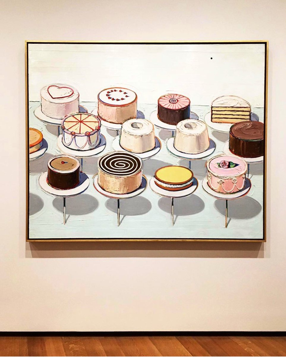 A very happy birthday to artist #WayneThiebaud, who turns 100 on Sunday. 🎉🎂🍰   Pictured: Cakes, 1963 @ngadc.  According to @washingtonpost, he is still making work and has an exhibition at @CrockerArt. https://t.co/3SYDzrmbFq  See the works at Crocker: https://t.co/XjesgQop4K https://t.co/ATl8A6R6oa
