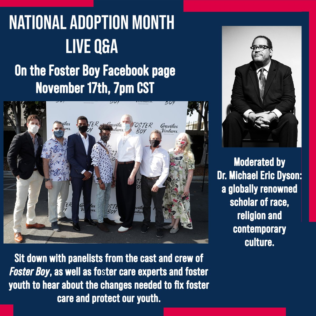 Tuesday! Join #FosterBoyMovie cast and crew along with foster care experts and a youth advocate for a live discussion moderated by the distinguished Dr. @MichaelEDyson. Join us on Facebook Live:  @Mr_Max_Adler @jerseylegendstv @ChildLink @workhousepr