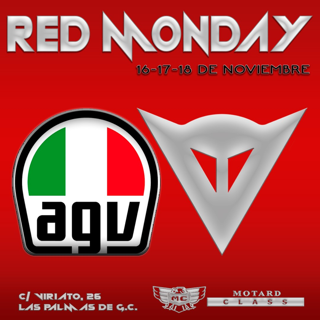 """#RedMonday Del 16 al 18 de noviembre """"Red Monday"""" en @MotardClass @AGVHelmets @dainese  -"""