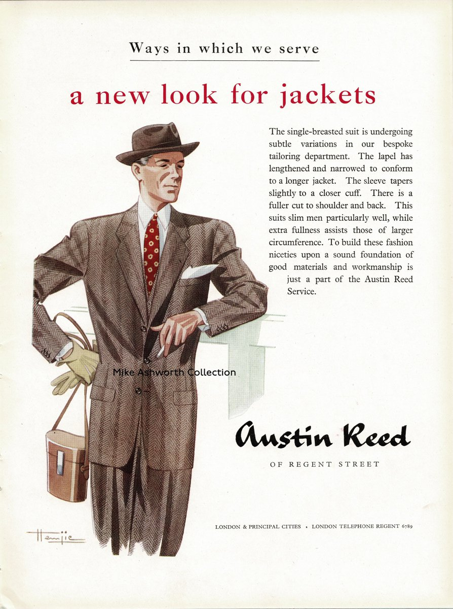 Mike Ashworth V Twitter Post War Aspirations As To Double Breasted Suits At Austin Reed 1948 Great Illustration By The Famous French Artist Marcel Hemjic Tho Issued Several Years After His Death Advertising Fashionhistory