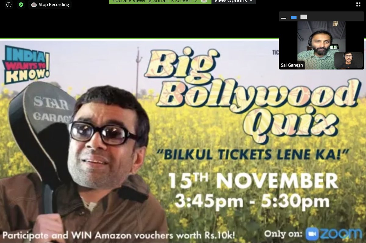 We are just starting on Zoom - Big Bollywood Quiz, just for you!