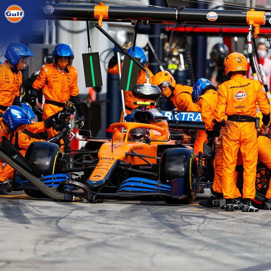 Pit stops are all about teamwork. Who would you want on your team to change a tyre? Tag your friends below. Good luck to the @McLarenF1 team who are in action today.  #GulfOilInternational #GulfOil #GulfXMcLaren #McLaren #TurkishGP #Motorsport