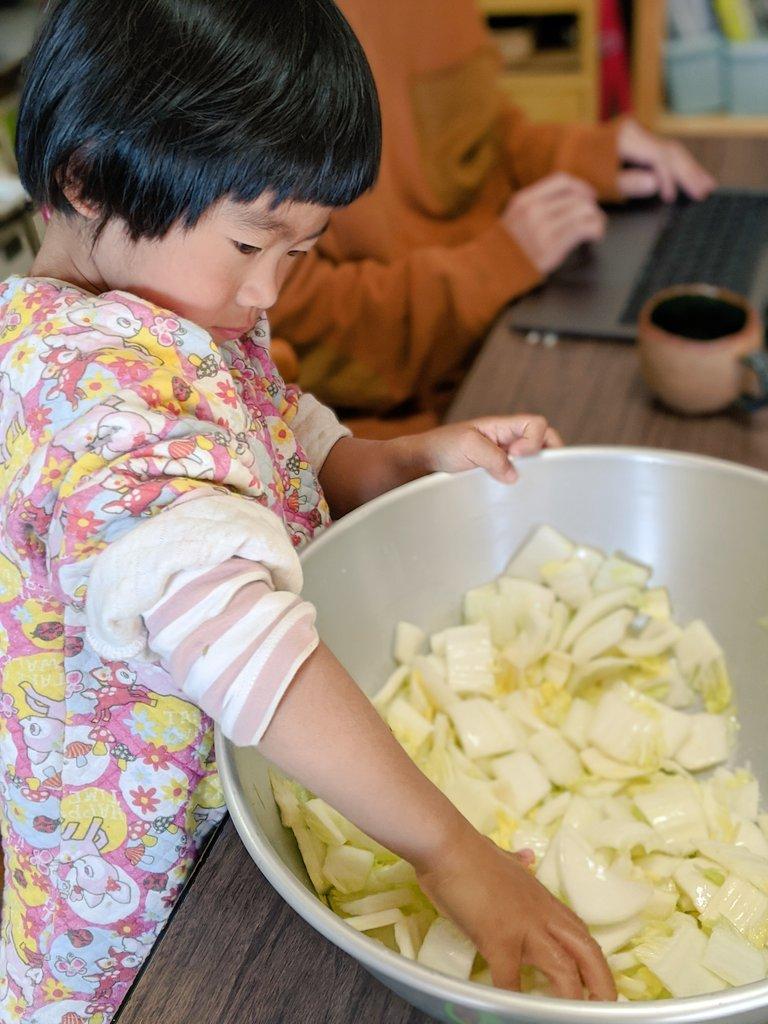 キムチ作りに初挑戦✨娘がたくさんお手伝いしてくれました🥰白菜を塩もみして、しぼって、リンゴやニンニクのすりおろしと和えます。ちゃんとキムチの味がする!感動😳💕こちらのレシピを参考にしました↓家にあるものだけで作れました!