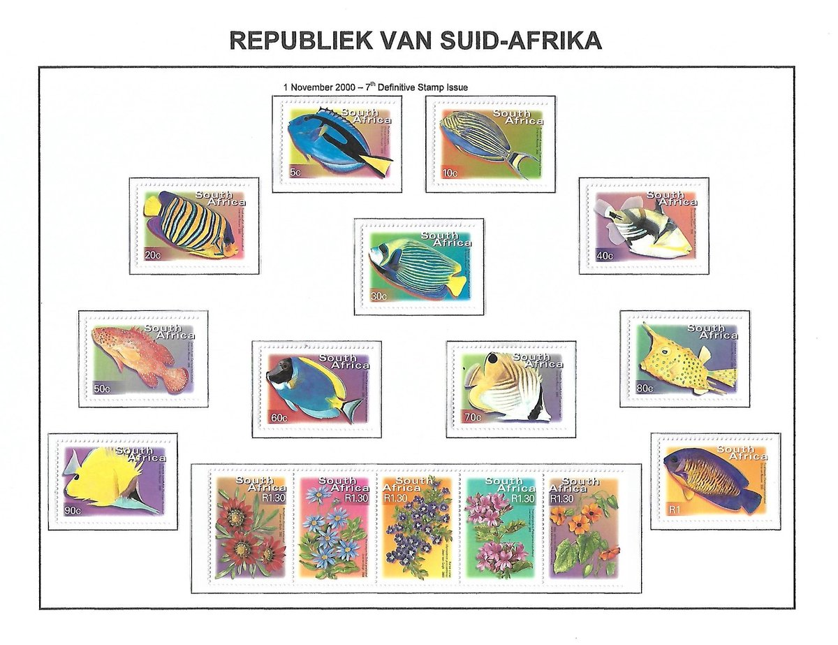 Republic of South Africa Commemorative Stamps - 15 November 2000: 7th Definitive Issue – Colourful South Africa 2000: Gladiator sheet of 20 stamps depicting World Post day #stampssa #SouthAfrica #Definitive #Colourful #WorldPostDay #PFSAstamps