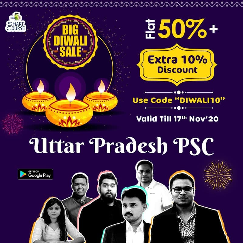#BigDiwaliSale! #UPPSC Uttar Pradesh #PSC Smart Course with smart features like Crux, PPT, Snippets, e-Books, Current-Updates, Personalised-Mentor for Doubts, PDF notes, etc now available on affordable monthly EMI. Get flat 50% + Extra 10% discount,