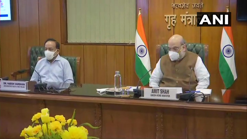 Delhi: A meeting called by Union Home Minister Amit Shah over #COVID19 situation in the national capital, is underway at North Block.   Union Health Minister Dr Harsh Vardhan, Delhi Lieutenant Governor Anil Baijal, CM Arvind Kejriwal, & other officials are present at the meeting.
