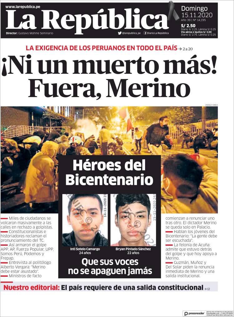 """El Pueblo Informa on Twitter: """"Via @vidaenportadas En medio de la protesta  social en Perú, la prensa escrita toma posición así informó sobre la brutal  represión policial: 📰 """"Ni un muerto más!"""