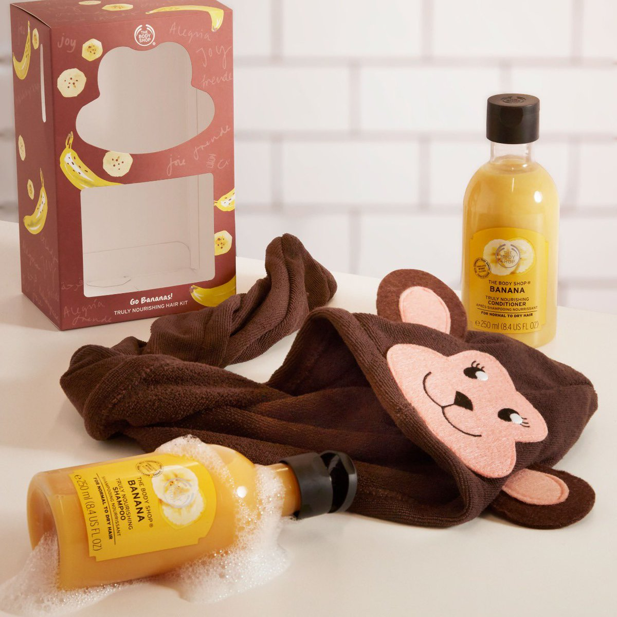 Our creamy Shampoo and Conditioner leave normal to dry hair feeling nourished with the addictive aroma of ripe bananas and woody coconut. Complete with a monkey hair wrap. Shop Online, in-store or via home delivery call +917042004412 #TBSInd #GiveJoy #FestiveGifting #GiftBox