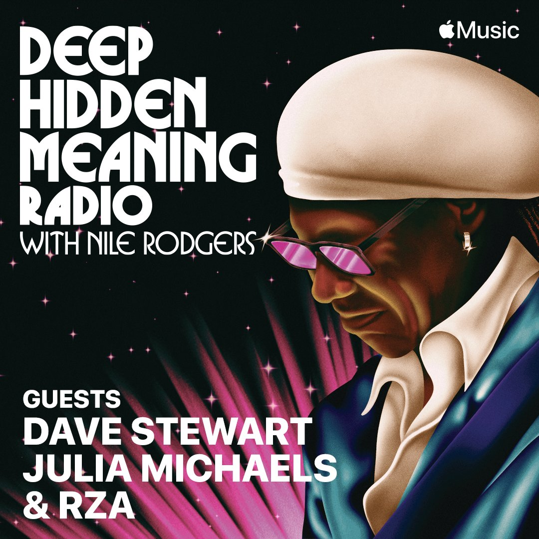 "Replying to @nilerodgers ""New episode of #DeepHiddenMeaning is available now. Go watch my conversation with @davestewarteurythmics, @juliamichaels, and @rza now on @applemusic!   """