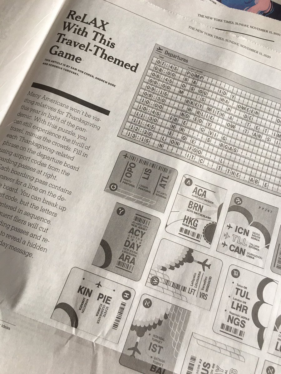 Hurrah to @amyvirshup and @nytimestravel @nytimes At Home team for the fun Sunday section. Yay for airport codes puzzle challenge! I miss traveling esp to ReLAX! Hats off to @samvonehren @adoreisadork @vyski #nytimesathome @NYTimesGames @supermakeit @adri_ninfa_gio @nytimesphoto https://t.co/3IoZfaq6fz