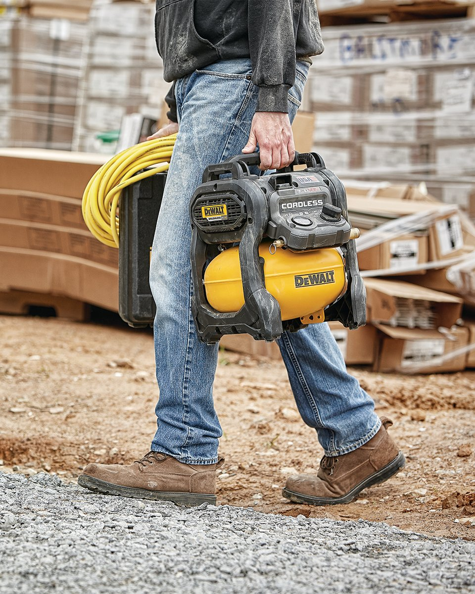 Whatever the job. Wherever the job. This cordless air compressor keeps you working.