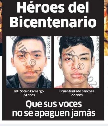 """Manuela Ramos 🇵🇪 #NoAlGolpeDeEstado's tweet - """"Estamos de luto por las  pérdidas de Jack Brian Pintado (22) e Inti Sotelo Camargo (24), jóvenes que  salieron a defender su patria y fueron asesinados."""