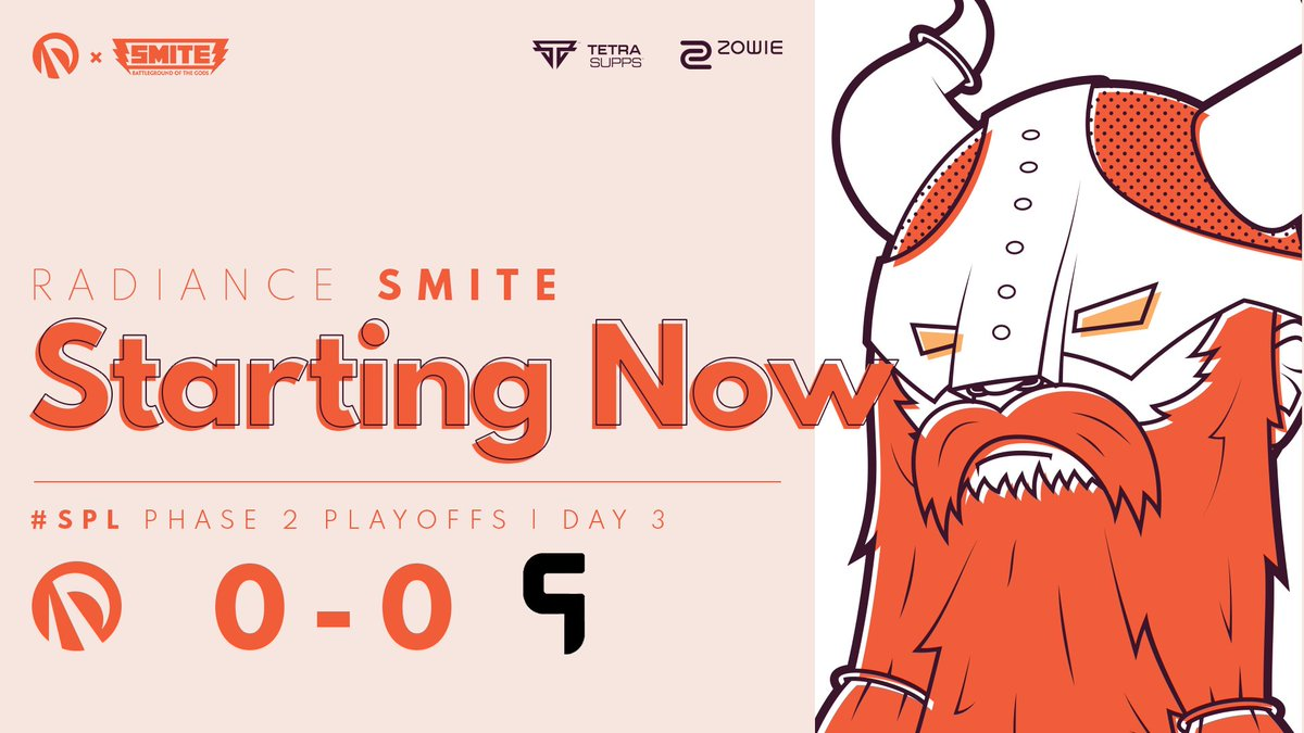 Radiance - It all comes down to this!  After 14 weeks of competitive SMITE, we're about to load onto the Battleground of the Gods one last time for the @SmitePro Phase 2 FINALS! 😤  Good luck to @GhostGaming / @TeamRivalGG today! 🤝  📺  #RADWIN☀️