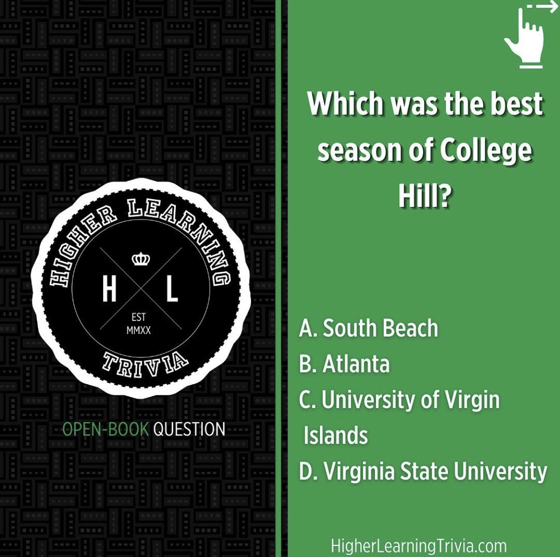 Let us know!  HBCU TRIVIA  #HLTrivia #HigherLearningTrivia  #hbcu #hbcupride  #trivia #games #gamenight #blacktrivia #spelhouse #hbculove #hbcuhomecoming #illustrious #buyblack