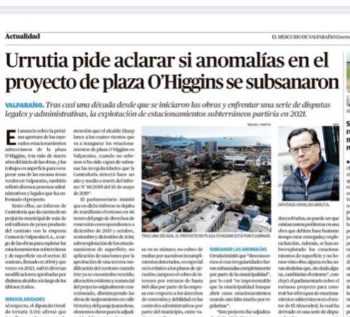 Acá les dejo la nota que hoy publica el diario @mercuriovalpo  donde pido aclarar las anomalías existentes en el proyecto de plaza O'Higgins. https://t.co/7ZZH0Cn8eX