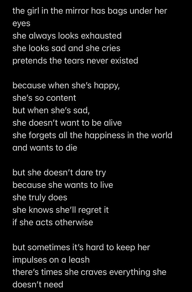 girl in the mirror ~ a poem by me!   tw: mentions of suicidal thoughts + depression  i hope it makes some of you feel stronger and more understood perhaps 🥺