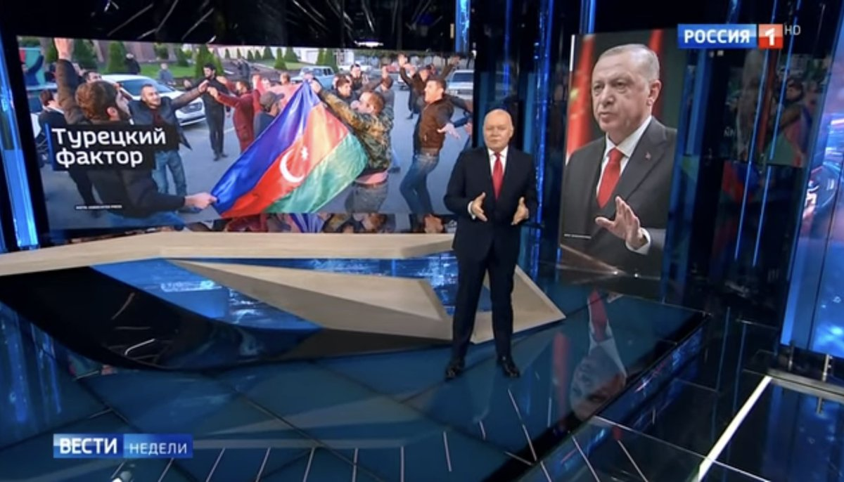 """Judging by Russian state TV, Moscow thinks it has outmanoeuvred Turkey over Karabakh. We'll see. Anchor says: """"Turkey's participation (in the region) will be kept to small doses due to Russia's strong position & Putin's unique ability to curb the appetite of our partners."""""""