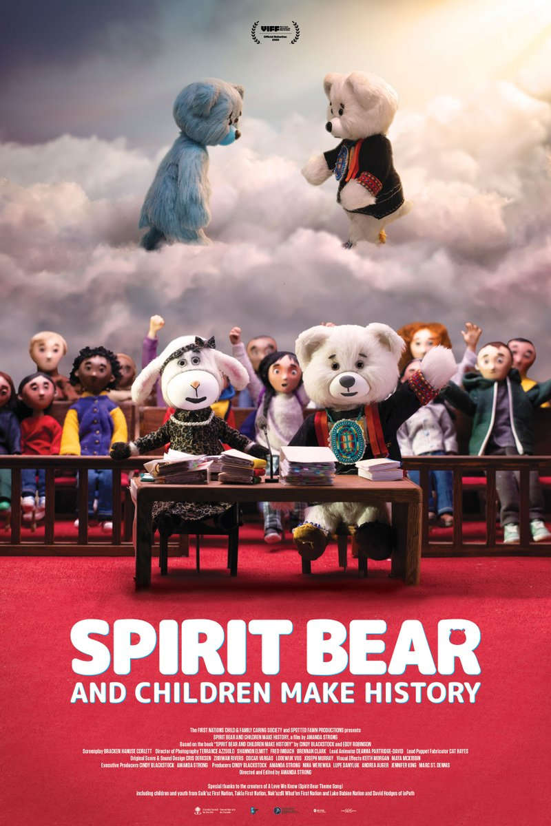 Join us online Wednesday for the virtual Edmonton premiere of Spirit Bear & Children Make History, the amazing stop-motion animation by @spottedfawnart & @CaringSociety. Featuring in-studio interview w/ @cblackst & @SpiritBear. Nov. 18, 6:30MT/8:30ET. albertamediahouse.shoutcms.net/content.php?ni…