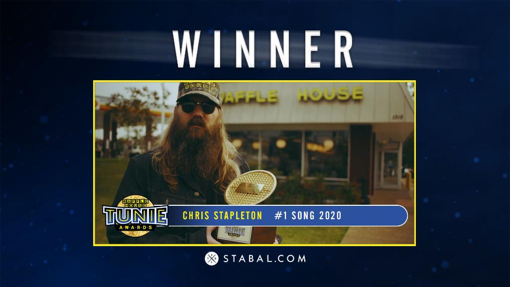 """🎤 For the 2nd year in a row and 121 straight weeks, the #1 SONG OF THE YEAR is """"Tennessee Whiskey"""" by @ChrisStapleton!   Congrats Chris, we're so happy to have him virtually with us on the Tunies>>"""