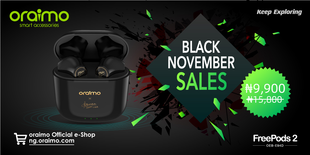 #oraimoBlackNovemberSales😍Get the 2baba tuned FreePods 2 with best price! No wires, no hassle! And a powerful charging case to enjoy up to 24.5 hours play time!⚡️⚡️ To get started, visit https://t.co/EZILUvoPA3 #oraimoblacknovember #BlackFriday #oraimofeelthevibe https://t.co/yKXZxoyGBd