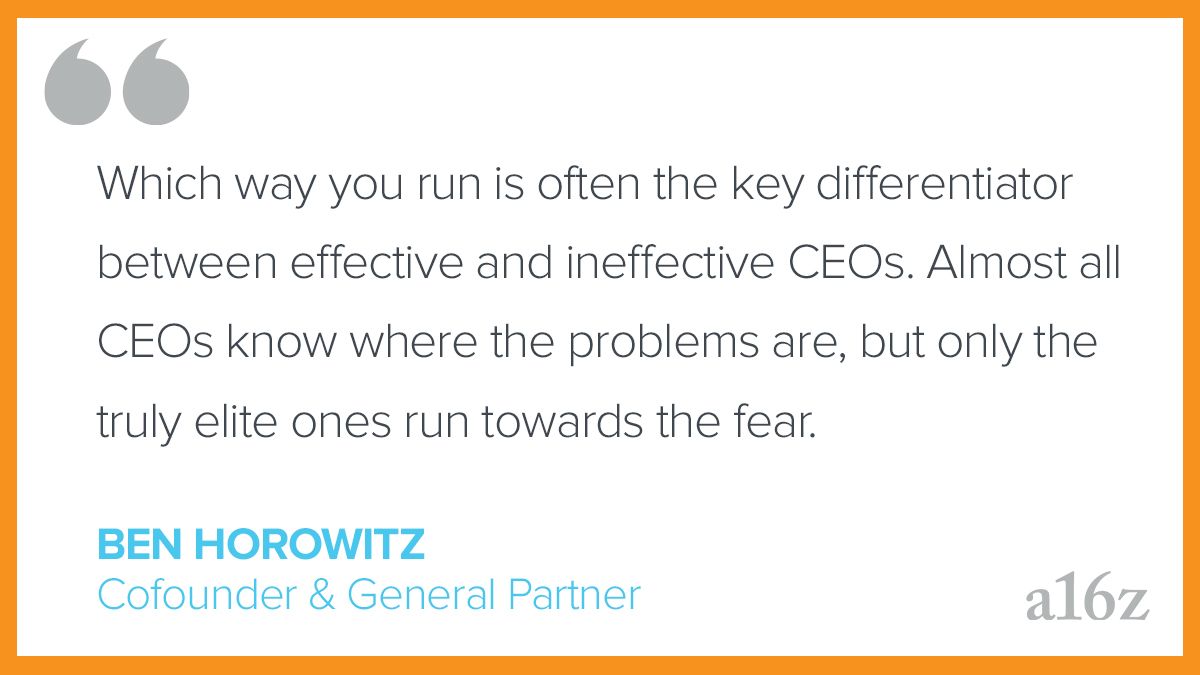 Replying to @a16z: When you feel that dread, which way do you run?   from @bhorowitz:
