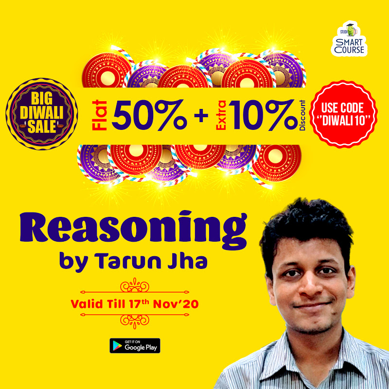 "#BigDiwaliSale! #Reasoning Smart Course by Tarun Jha with various smart features and affordable EMI options. Get flat 50% + Extra 10% discount, use code ""DIWALI10"" offer valid till 17th Nov'20. To know more, download Study IQ APP:"
