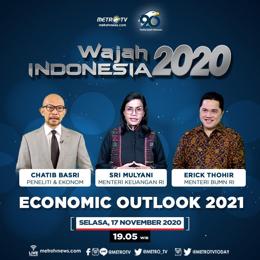 """Di tengah ketidakpastian berakhirnya pandemi Covid-19, dibutuhkan kebijakan countercyclical yang kuat untuk akselerasi pemulihan ekonomi nasional.  Bagaimana proyeksi ekonomi kita di 2021?  Tonton #WajahIndonesiaMetroTV: """"Economic Outlook 2021"""" ⏰ Selasa (17/11) pukul 19.05 WIB."""
