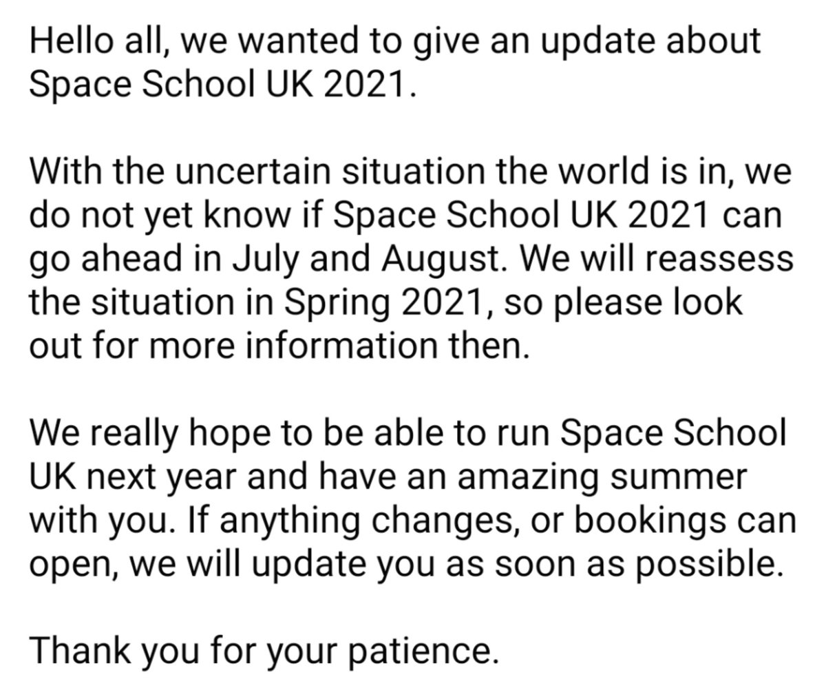 We have a short update about Space School UK 2021. Please read and share.