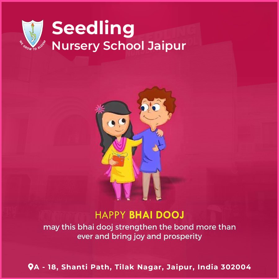 Celebrating the beautiful bond Brothers and Sisters 💫🌟  A very Happy Bhai Dooj to everyone from Seedling Nursery School, Jaipur✨ . . . #Bhaidooj #brothers #sisters #specialday #SeedlingSchools #Udaipur #2020 #seedlingNurseryschool #happynavratri #navratri #festival #diwali https://t.co/Bs4tcvzaOf