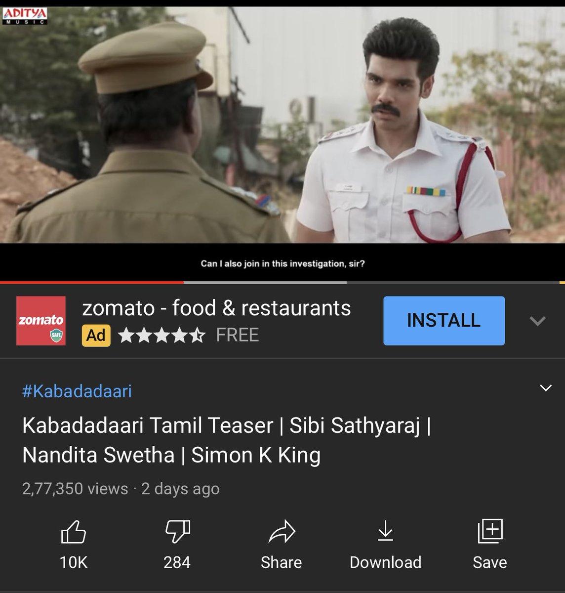 #KabadadaariTeaser crossed 5 Lakhs Digital Views 🔥🔥 (YouTube & Facebook )     @Sibi_Sathyaraj @Directorpradeep @simonkking @dhananjayang @lalithagd @adityamusic