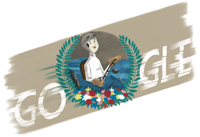 """Did you know?  Czech racecar driver Eliška Junková was the 1st woman ever to win a Grand Prix race 🏆  Happy birthday to Eliška """"Queen of the Steering Wheel"""" Junková, who paved the way for women drivers worldwide 🇨🇿   #GoogleDoodle →"""