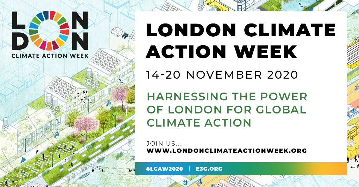RT @london_climate 🎉It's London Climate Action Week. 🎉For the next5⃣days #LCAW2020 will bring together experts, academics and policymakers to discuss the route to a zero carbon society. With #COP26 delayed, now is a pivotal time to be sharing green ideas. 🌱Follow us to join the conversation.