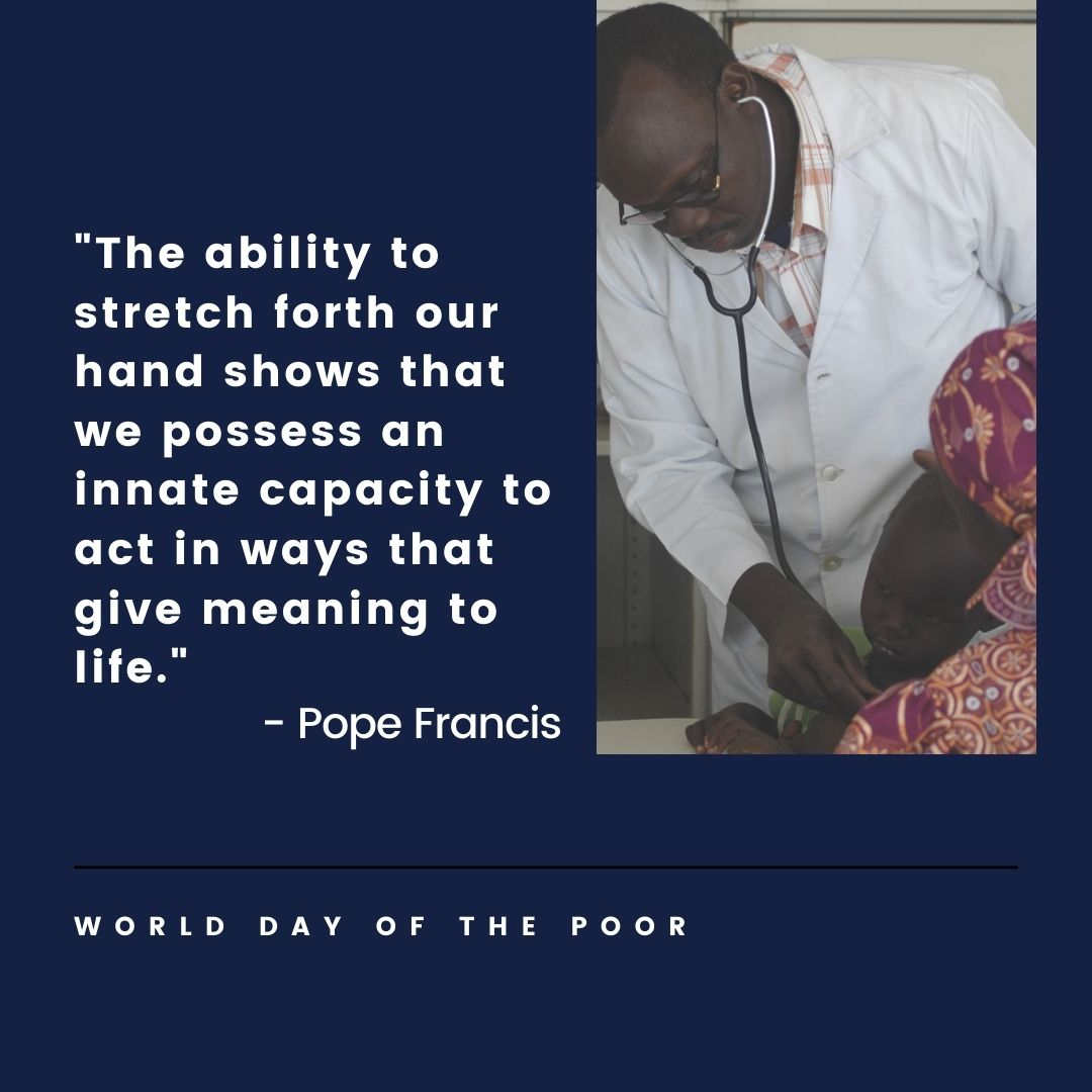 "For #WorldDayOfThePoor, we're thinking of those facing poverty, loneliness & homelessness during the #COVID19 crisis and beyond.   This week, we're focused on @Pontifex's encouragement to ""stretch forth our hand"" to those in need across #England, #Wales & our twinned countries.💙"