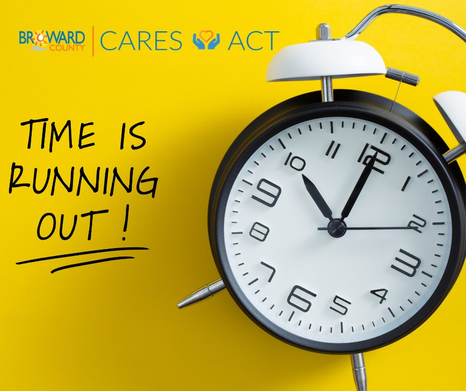 Just hours left to apply for the Broward County Small Business and Non-Profit CARES Act Grants - DEADLINE: TODAY, Monday, November 16, 2020 at 10PM!  Visit https://t.co/KkOgBMRu9U to learn more. https://t.co/b6suv3watV
