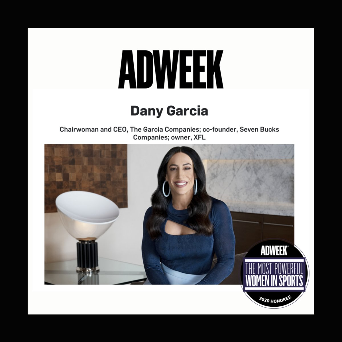 An unmatched vision leads to extraordinary achievements. Congratulations to our co-founder @DanyGarciaCo for her inclusion in @AdWeek's Most Powerful Women in Sports. Dany is being recognized for uplifting & advocating for marginalized voices in & beyond the entertainment space.