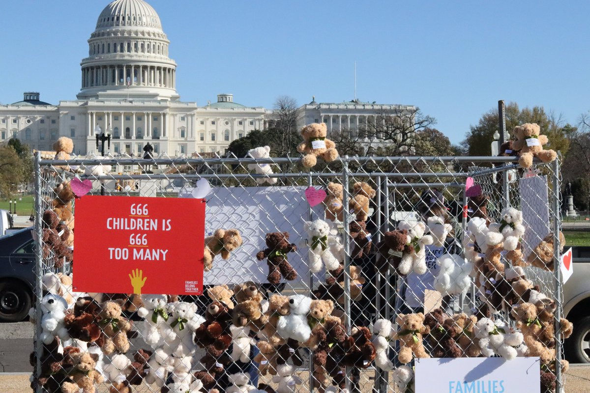 HAPPENING NOW: Families Belong Together has placed more than 650 teddy bears along with a cage outside Capitol Hill to remind lawmakers of the 650+ children who have still not been reunited with their families.