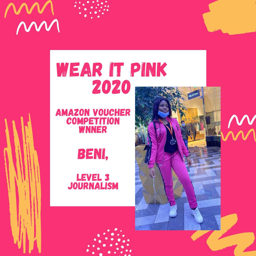 👏🏼 Congratulations to Beni, who is our #wearitpink @BreastCancerNow  competition winner.   💕 Beni is a level 3 Journalism student & was selected by our RAG society & enrichment staff to be awarded a £20 Amazon voucher  @leedscitycoll