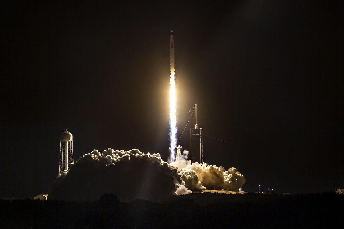Falcon 9 launches Crew Dragon on its first operational flight with astronauts on board, beginning regular crew flights to the @space_station from the U.S.
