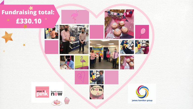 Our internal fundraiser for @breastcancernow #wearitpink day raised a fantastic £330! 🎉😃 Thanks to @BornBreadLurgan for supplying the delicious treats for our event - yum! 😋🍰 #charitysupport #fundraising #teamwork #jhgroup