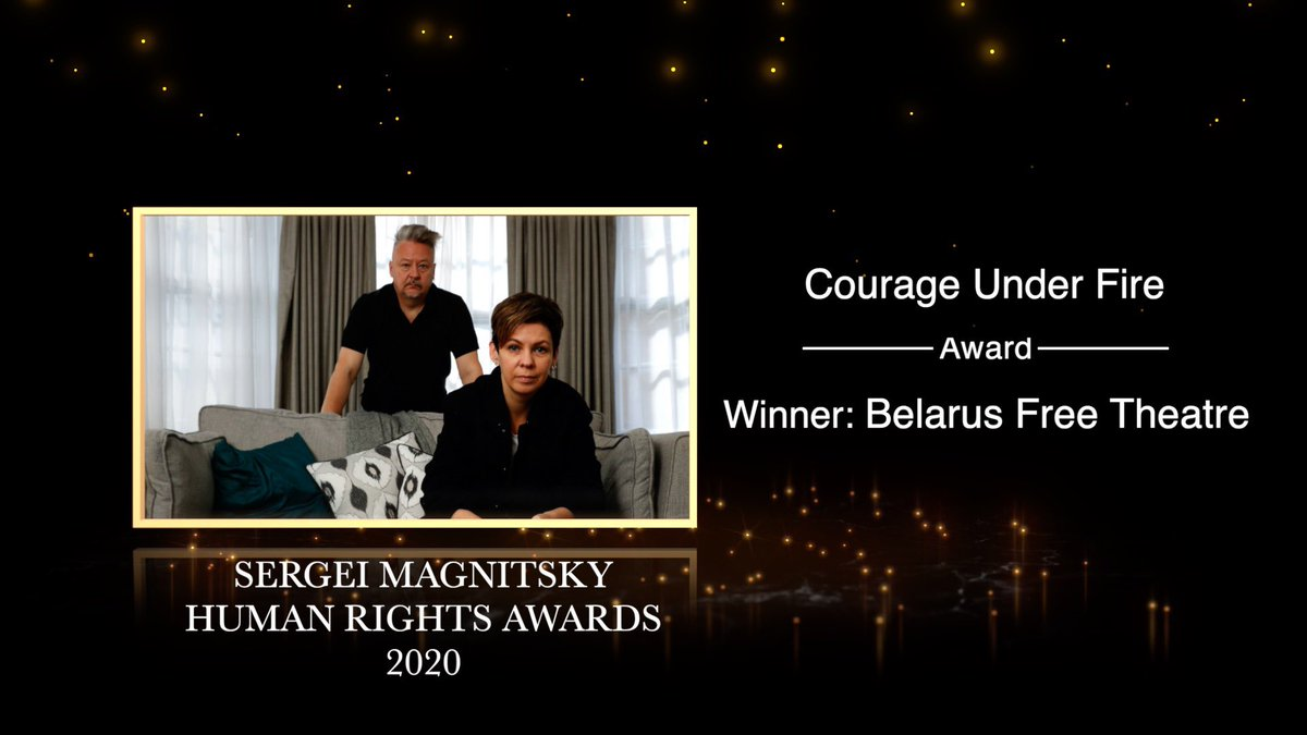 We are very grateful to announce that @BFreeTheatre is this year's recipient of the Courage Under Fire Magnitsky Award. It is a very important award for us and the whole of #Belarus, we are waiting with hope for the imposition of EU Magnitsky Act sanctioning Lukashenko's regime.