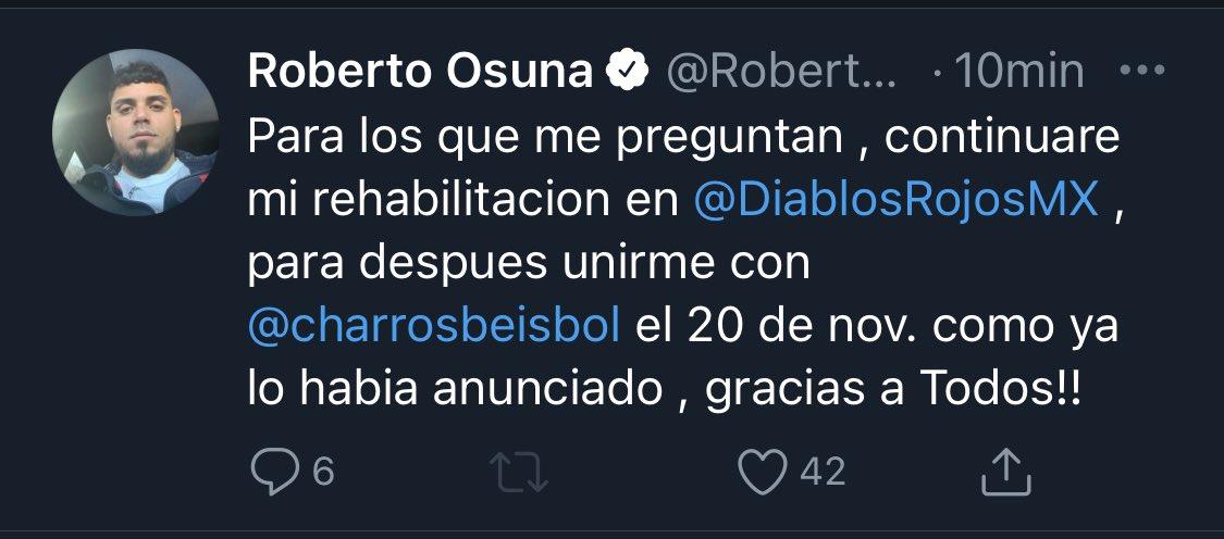 Roberto Osuna aclara situación con Charros de Jalisco