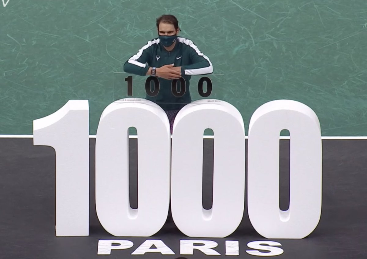 💥 @RafaelNadal becomes the 4th man in the @atptour Open Era to record 1️⃣0️⃣0️⃣0️⃣ match-wins!  CONGRATULATIONS, RAFA‼️ https://t.co/p7bWj7DQWy