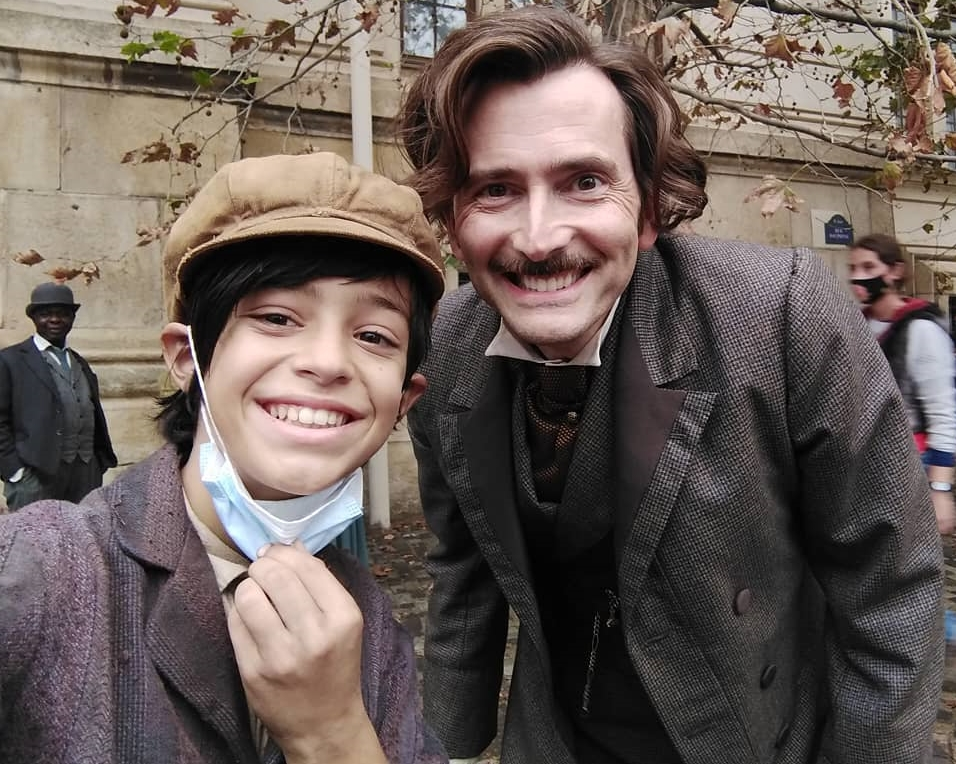 David Tennant from the set of Around The World In 80 Days (with young actor David Braps)