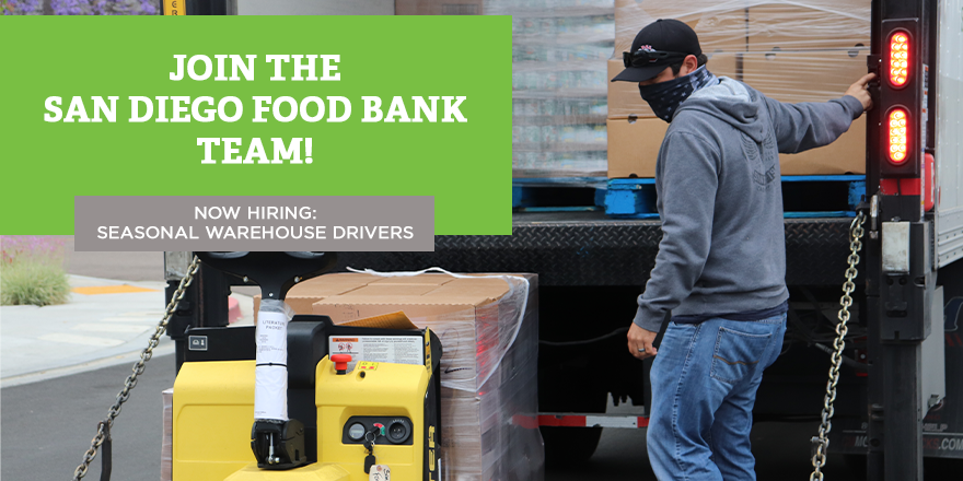 The San Diego Food Bank is adding to our team in preparation for the busy holiday season! We are seeking to fill three open positions for Seasonal Warehouse Drivers. To learn more about the position and to apply, visit: bit.ly/SDFBJobs #NowHiring #DriversWanted